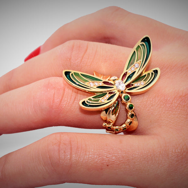 DEMOISELLE RING PLIQUÉ A JOUR YELLOW GOLD DIAMOND AND TSAVORITE, BESTIOLES COLLECTION - GERARDRIVERON