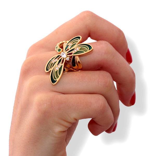 DEMOISELLE RING PLIQUÉ A JOUR YELLOW GOLD DIAMOND AND TSAVORITE, LUCKY ANIMALS COLLECTION