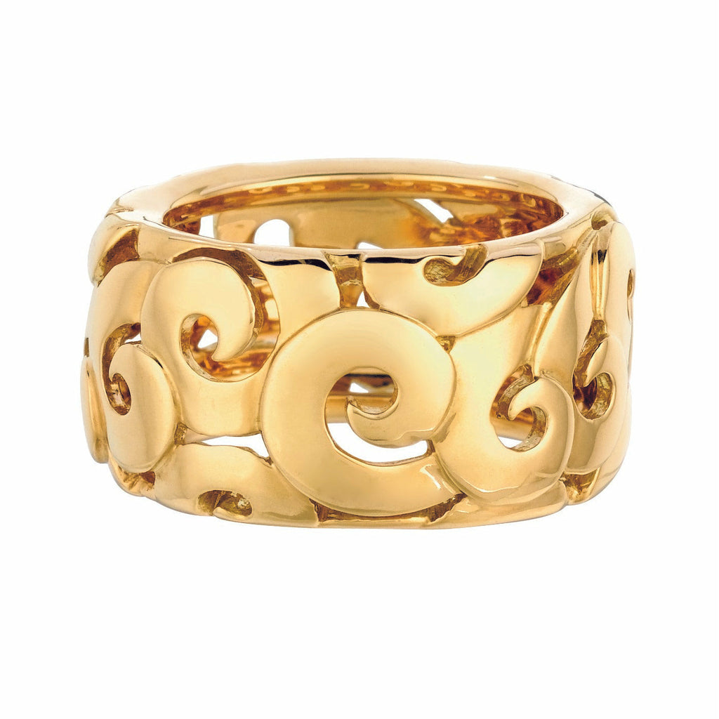 #ALACARTEBRIDAL YELLOW GOLD WIDE BAND, ARABESQUE Collection