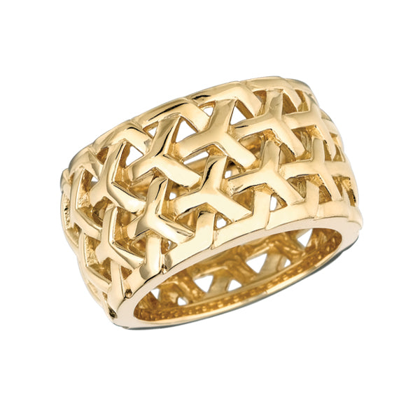 #ALACARTEBRIDAL YELLOW GOLD WIDE BAND, Y KNOT Collection - GERARDRIVERON