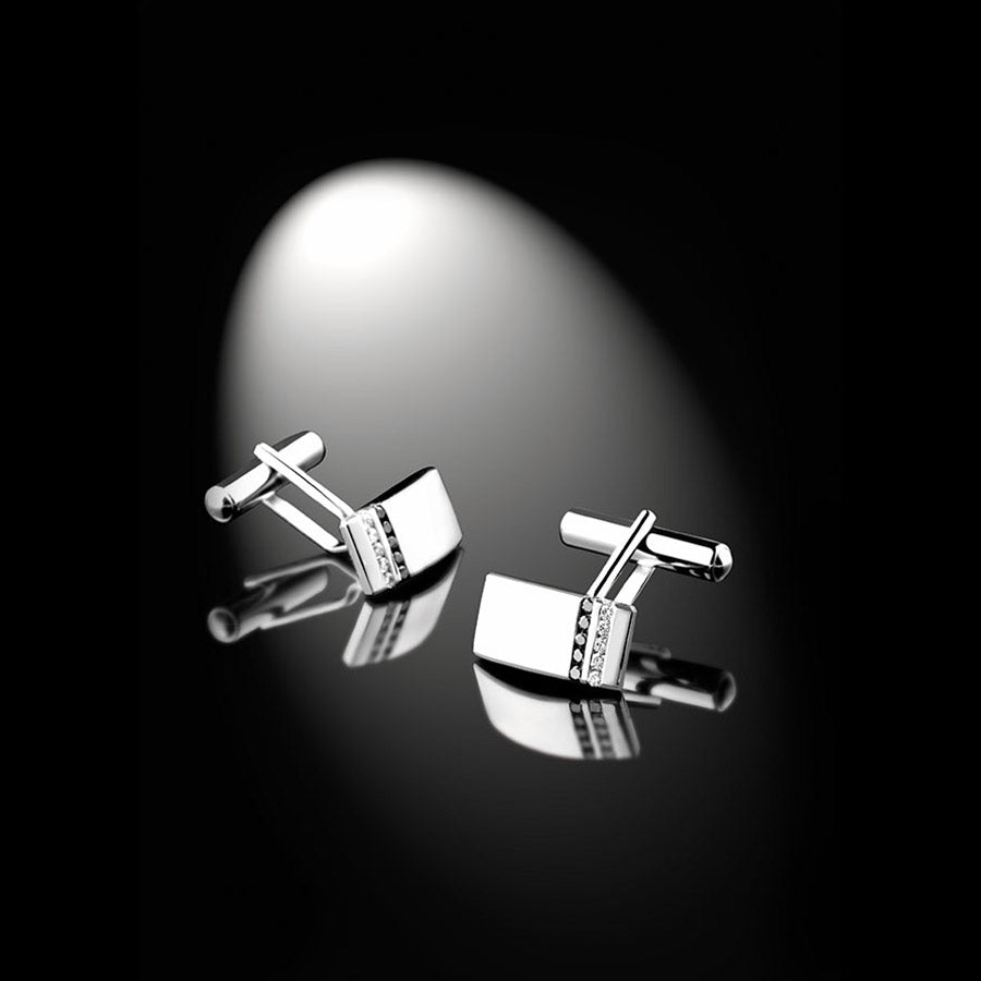 Men's Collection Unik Man Cufflinks 'Dynamik' White Gold - GERARDRIVERON