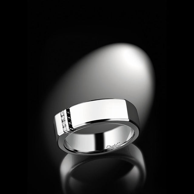 Men's Collection Unik Man Signet Ring 'Dynamik' White Gold - GERARDRIVERON