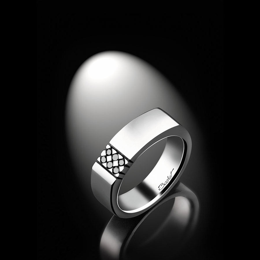 Maison Bachet Unik Man Signet Ring 'Dandy', White Gold Men's Jewelry