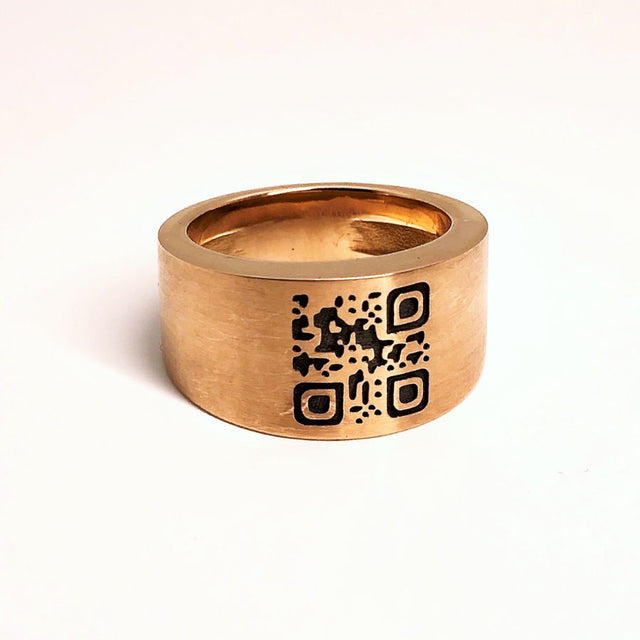 QR Code Readable Ring in 18K Rose Gold - GERARDRIVERON