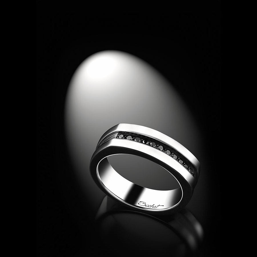 Men's Collection Unik Man Signet Ring 'Charmeur' White Gold