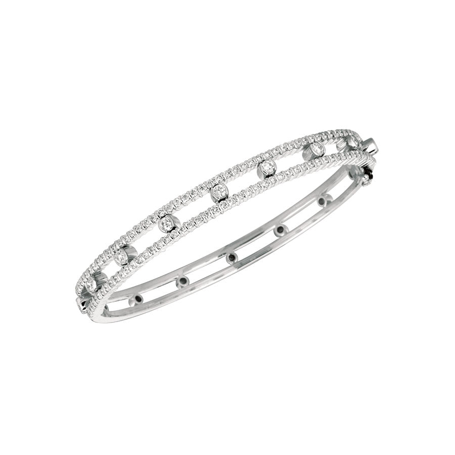 #ALACARTEBRIDAL GK WHITE GOLD AND DIAMOND WOMEN'S BANGLE PART WAY BRACELET - GERARDRIVERON