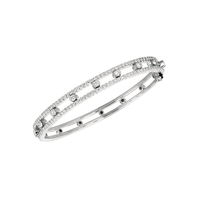 #ALACARTEBRIDAL GK WHITE GOLD AND DIAMOND WOMEN'S BANGLE PART WAY BRACELET
