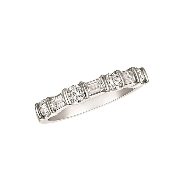 DIAMOND PART WAY RING PLATINUM BAGUETTE AND ROUND DIAMONDS