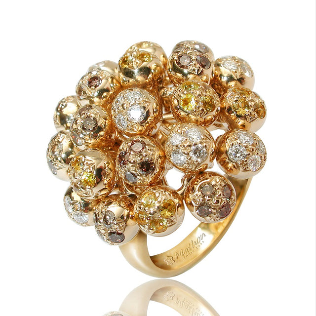 LILAS RING WHITE AND BROWN DIAMONDS YELLOW SAPPHIRES, ANTHOLOGY FLORILÈGE COLLECTION