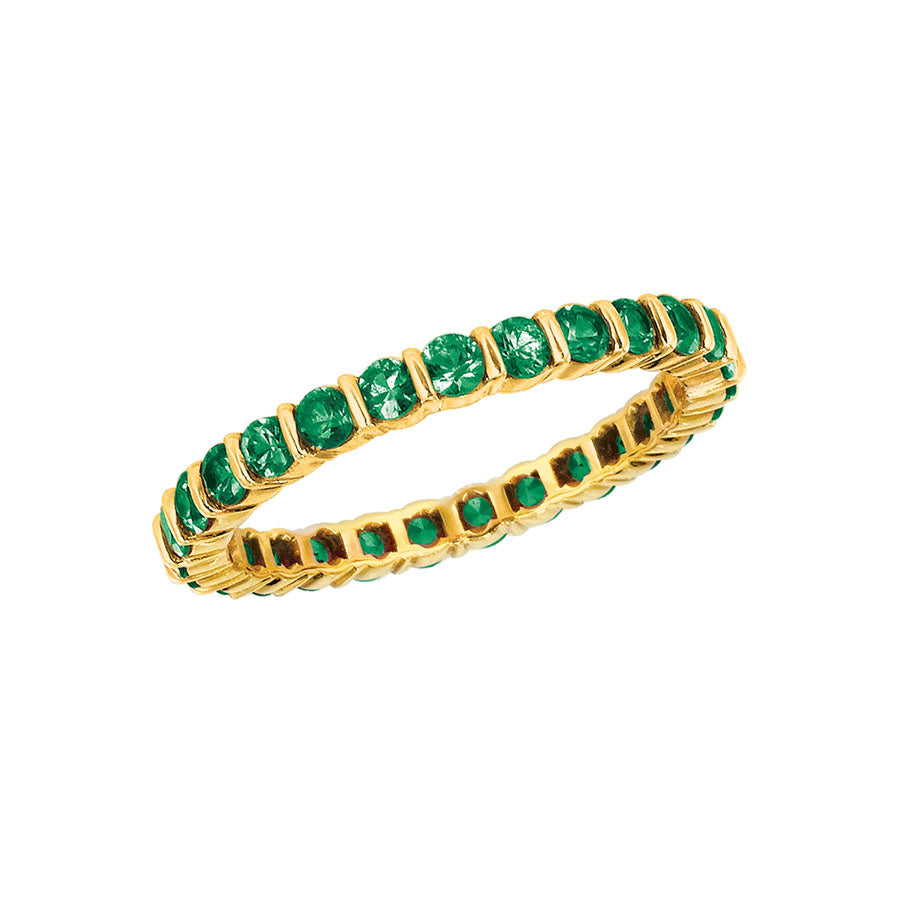 #ALACARTEBRIDAL GK YELLOW GOLD AND TSAVORITE WOMEN'S ETERNITY BAND - GERARDRIVERON