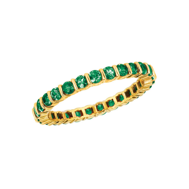 #ALACARTEBRIDAL GK YELLOW GOLD AND TSAVORITE WOMEN'S ETERNITY BAND
