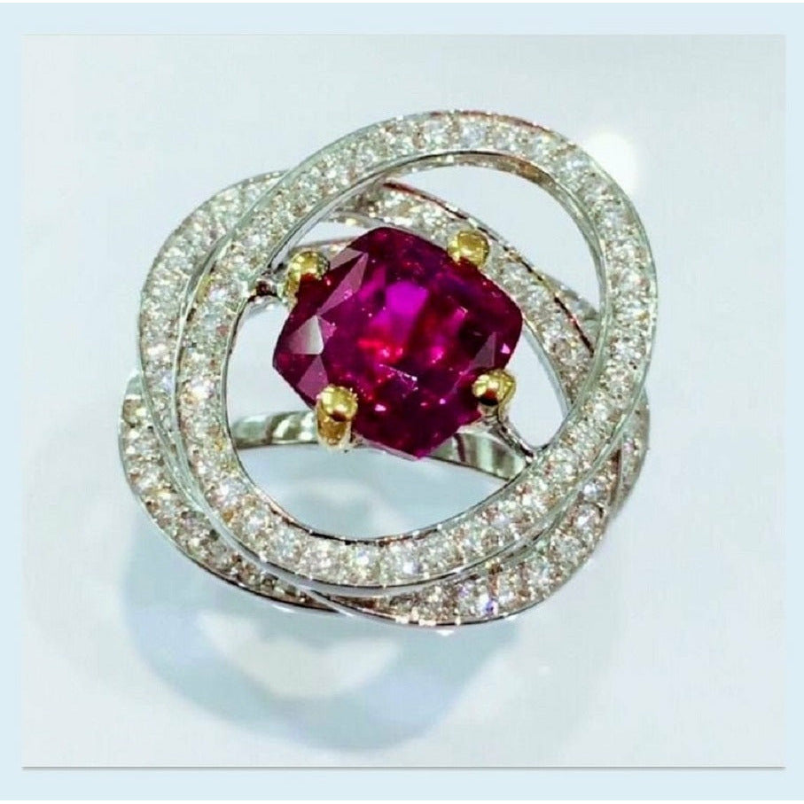 GRAVITY RING PINK SAPPHIRE AND DIAMONDS on 18Kt white gold - GERARDRIVERON