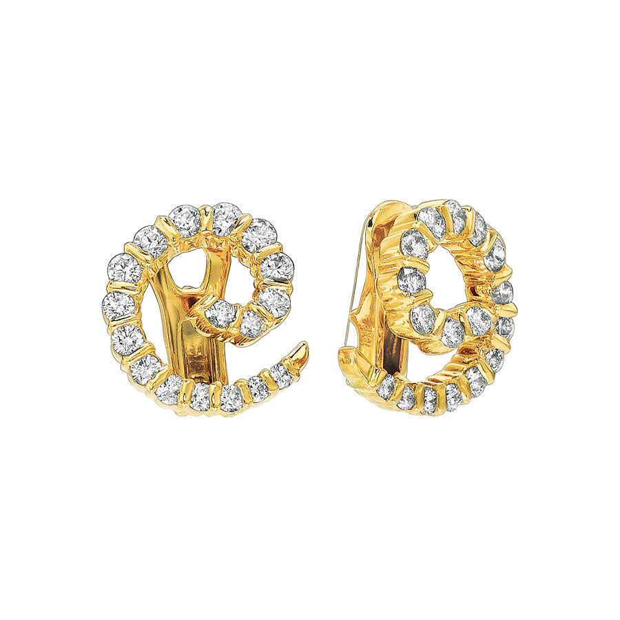 #ALACARTEBRIDAL GK YELLOW GOLD AND DIAMOND SWIRL EARRINGS - GERARDRIVERON