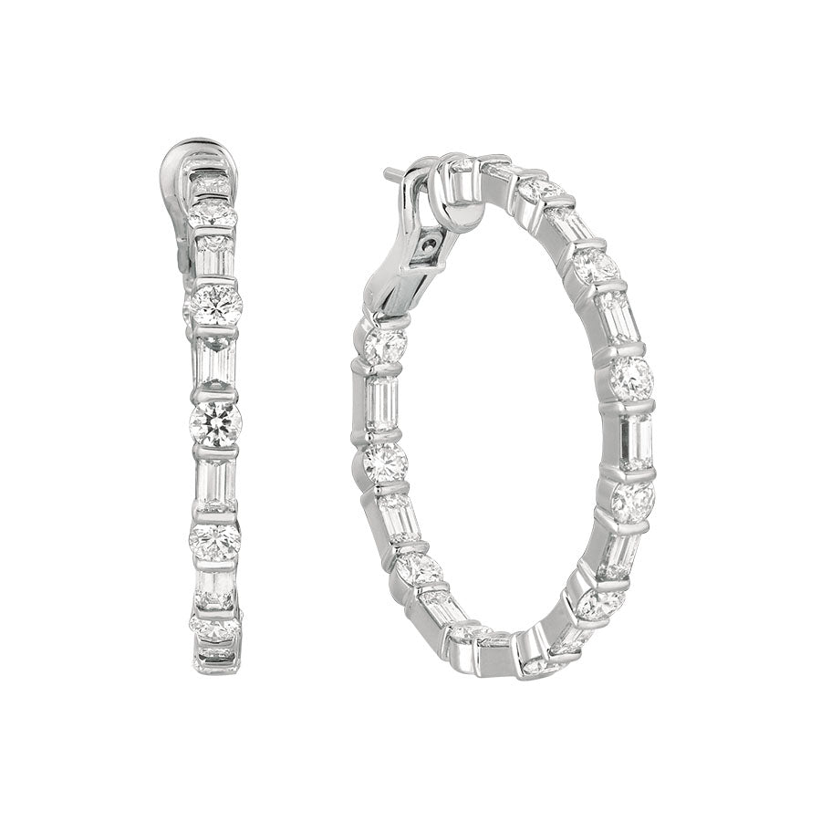 #ALACARTEBRIDAL GK WHITE GOLD DIAMOND BAGUETTE AND ROUND LARGE HOOP - GERARDRIVERON