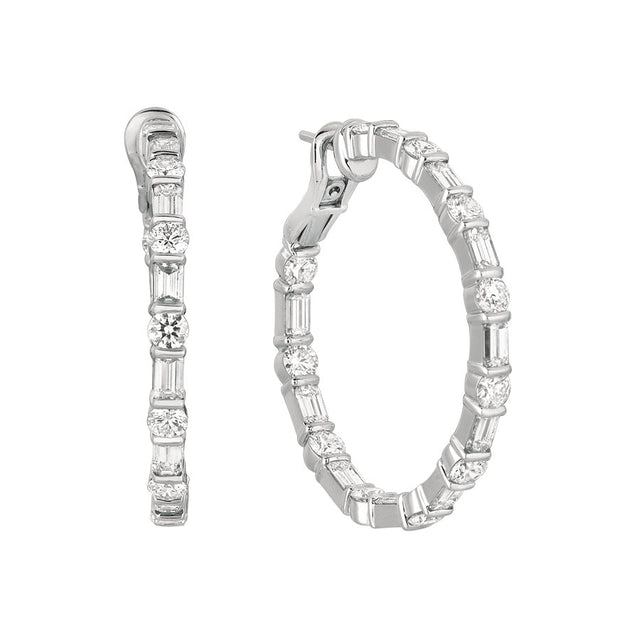 #ALACARTEBRIDAL GK WHITE GOLD DIAMOND BAGUETTE AND ROUND LARGE HOOP
