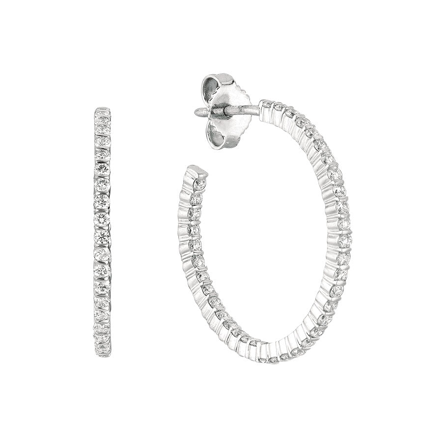 #ALACARTEBRIDAL GK WHITE GOLD DIAMOND HOOP EARRINGS