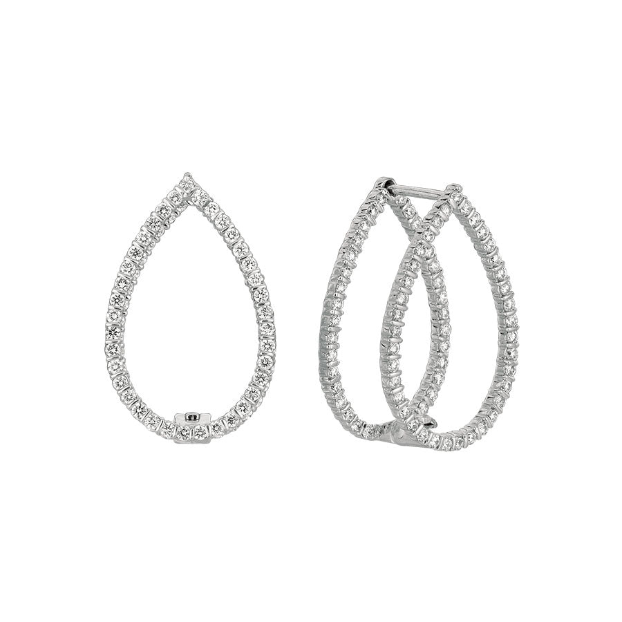 #ALACARTEBRIDAL GK WHITE GOLD AND DIAMOND MIROIR PEAR SHAPE EARRINGS - GERARDRIVERON
