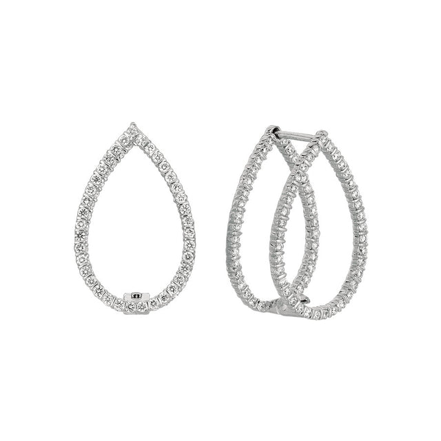 #ALACARTEBRIDAL GK WHITE GOLD AND DIAMOND MIROIR PEAR SHAPE EARRINGS