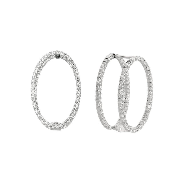 #ALACARTEBRIDAL GK WHITE GOLD AND DIAMOND MIROIR OVAL EARRINGS