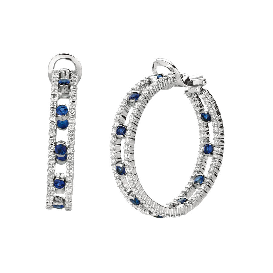 #ALACARTEBRIDAL GK WHITE GOLD, DIAMOND AND SAPPHIRE HOOP EARRINGS - GERARDRIVERON