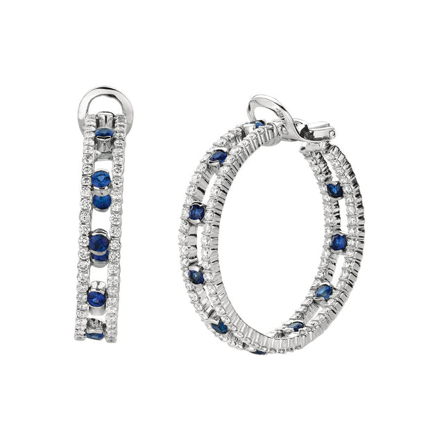 #ALACARTEBRIDAL GK WHITE GOLD, DIAMOND AND SAPPHIRE HOOP EARRINGS