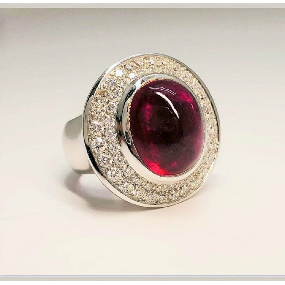 RICHELIEU RING RUBELLITE DIAMONDS ON 18KT WHITE GOLD - GERARDRIVERON
