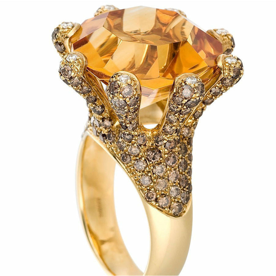 Victoria Citrine Ring in 18K Yellow Gold - GERARDRIVERON