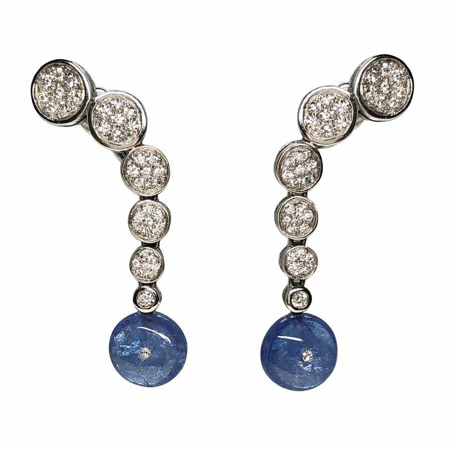 Cascade Tanzanite Earrings in 18K White Gold - GERARDRIVERON