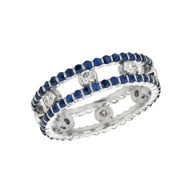 #ALACARTEBRIDAL GK WHITE GOLD SAPPHIRE AND DIAMOND WOMEN'S RING