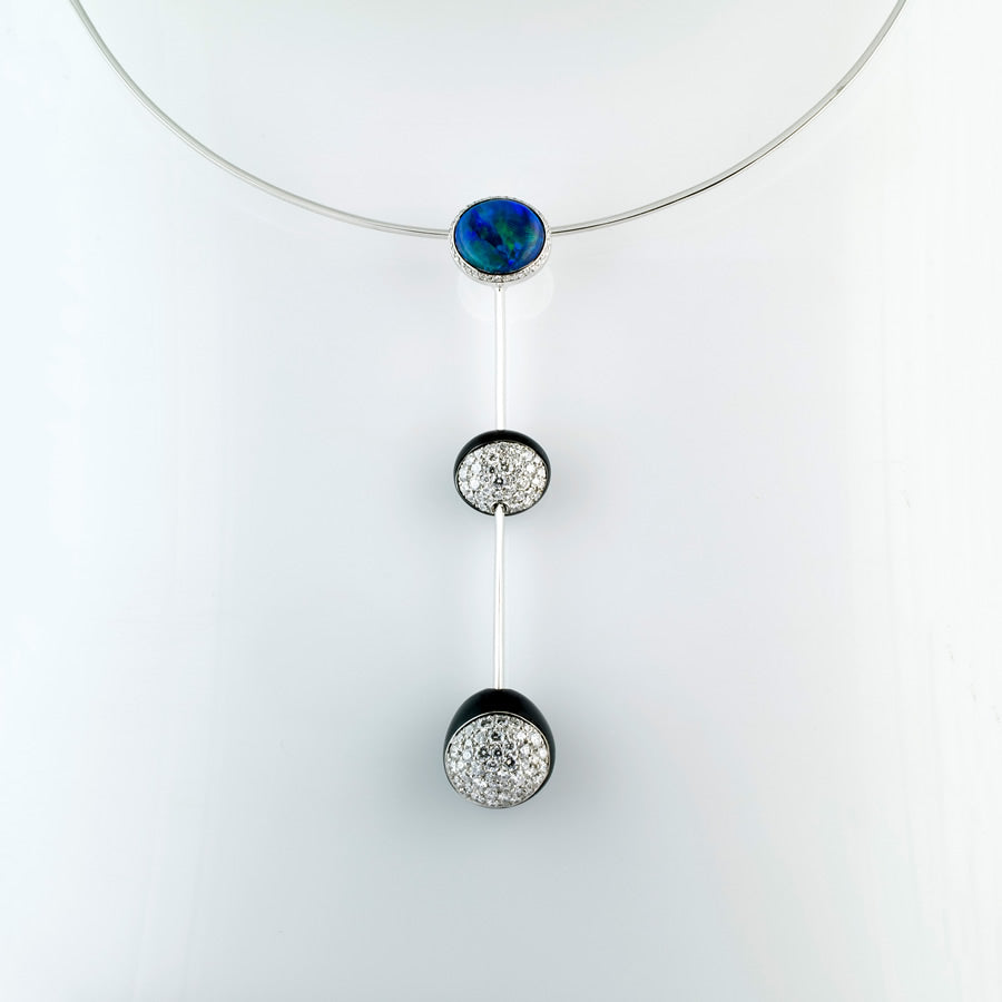 Galet Collection Onyx, Diamond & Black Opal Necklace 3 motifs
