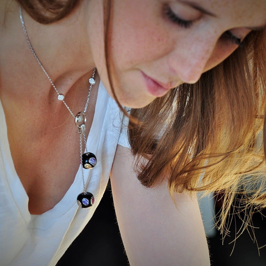 Cherry Collection Onyx, Sapphire, Spessartite & Spinel Necklace - GERARDRIVERON