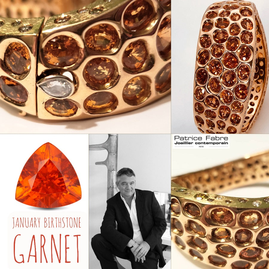 Anaconda Bracelet in Rose Gold with Mandarin Garnets - GERARDRIVERON