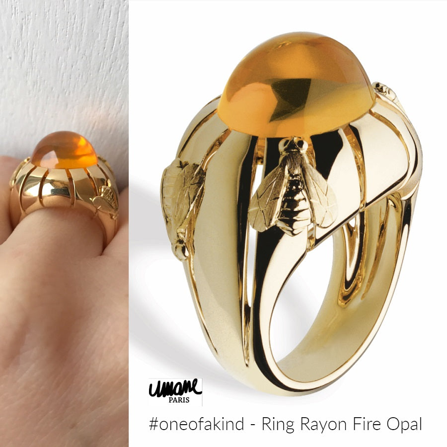 Natural History Collection Fire Opal Cabochon Ring Rayon - GERARDRIVERON