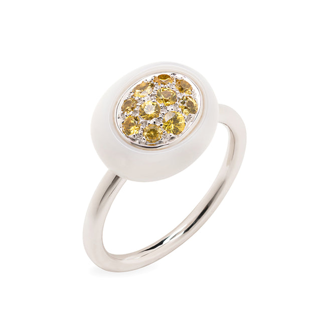 Mini Galet Collection Cacholong and Yellow Sapphires Ring - GERARDRIVERON