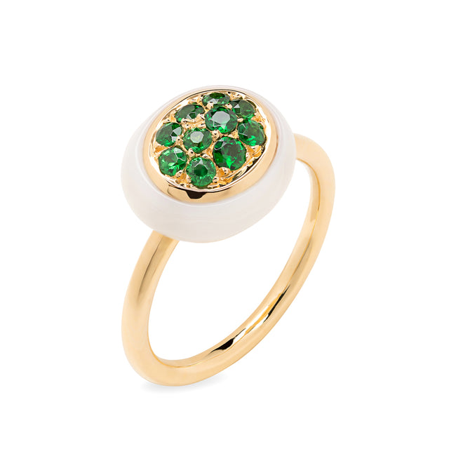 Mini Galet Collection Cacholong & Tsavorite Ring - GERARDRIVERON
