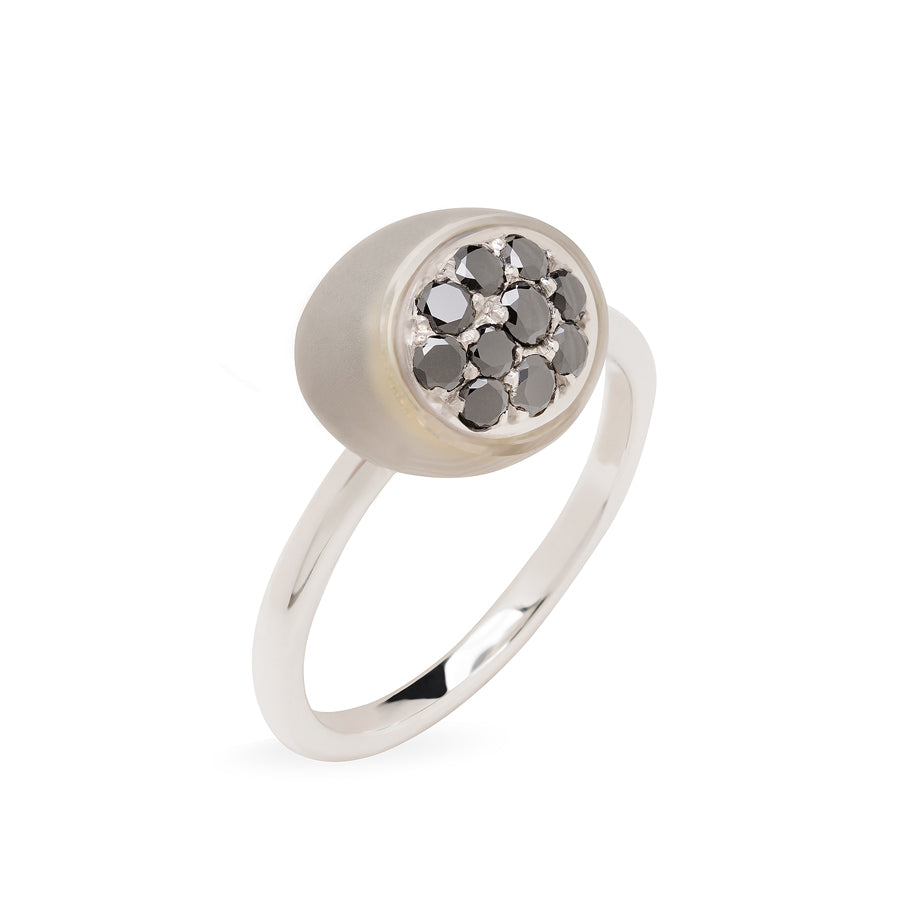 Mini Galet Rock Crystal & Black Diamonds Ring