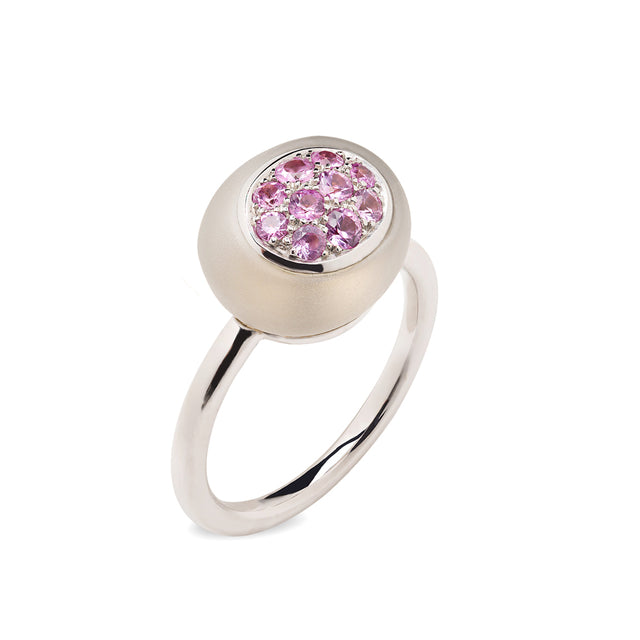 Mini Galet Rock Crystal & Pink Sapphire Ring