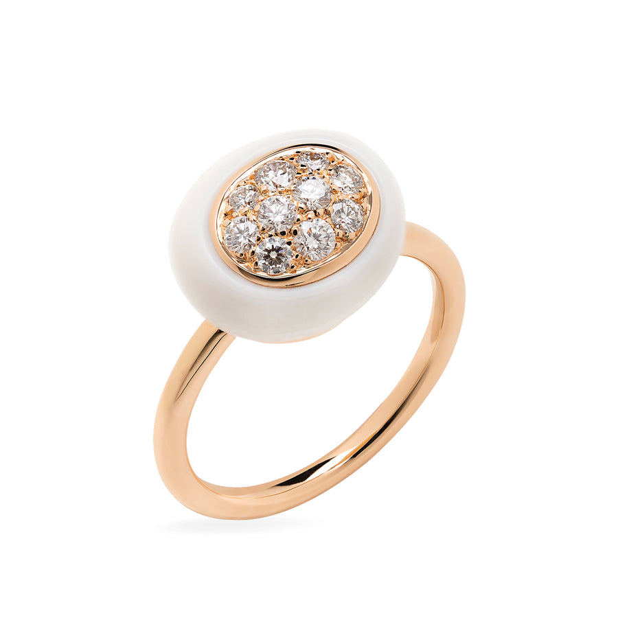Mini Galet Collection Cacholong and Diamond Ring #ALACARTEBRIDAL