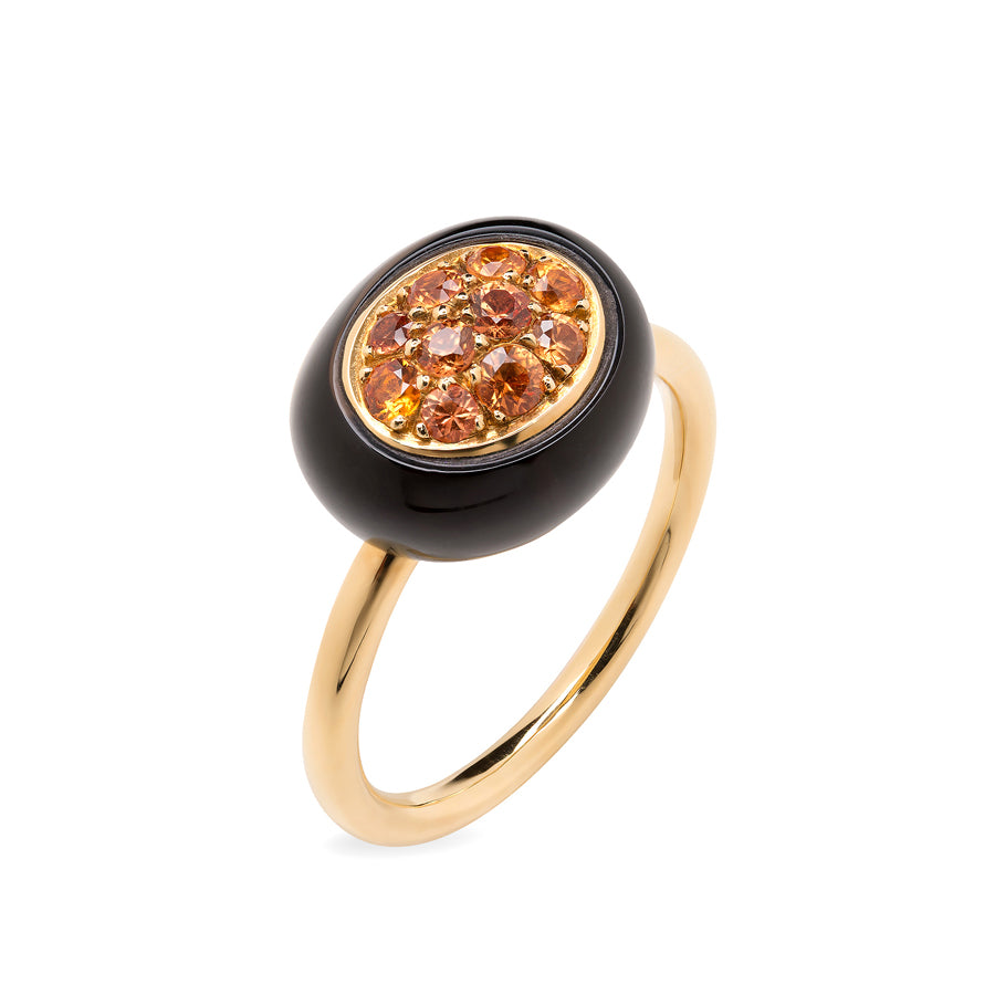 Mini Galet Collection Smoky Quartz & Orange Sapphires Ring - GERARDRIVERON