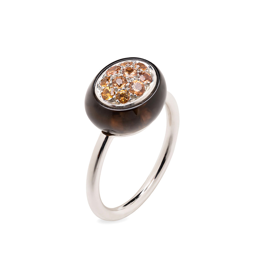 Mini Galet Collection Smoky Quartz and Peach Sapphires Ring - GERARDRIVERON