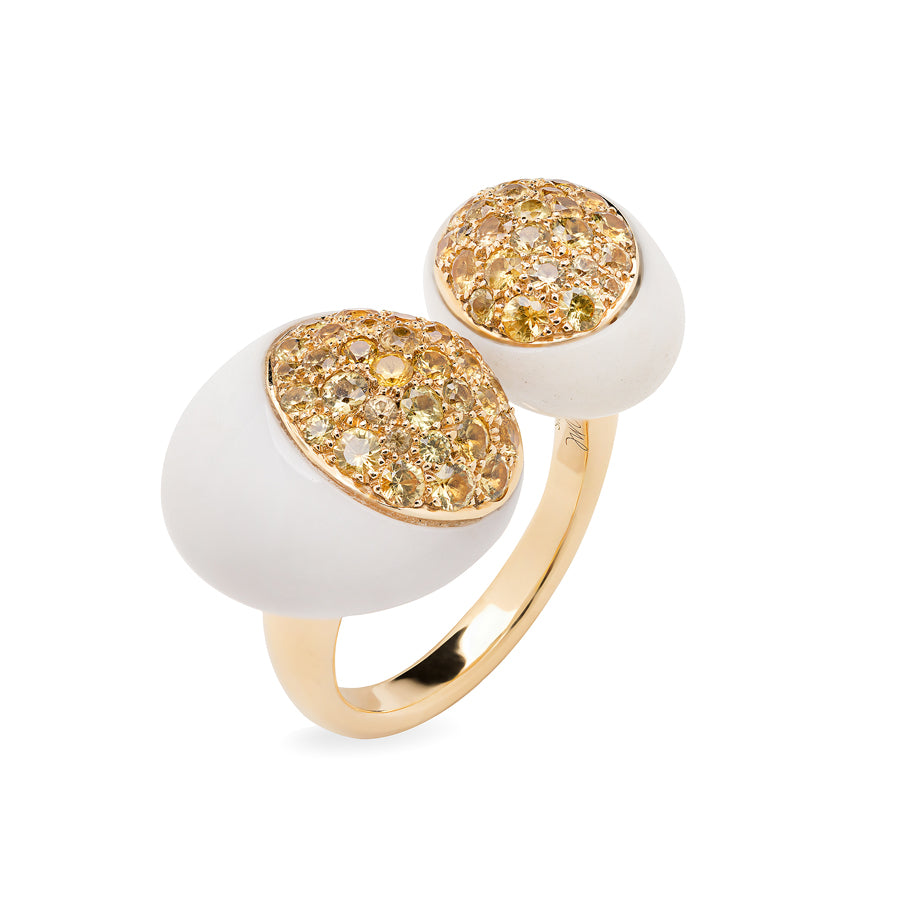 GMPM Galet Collection Cacholong & Yellow Sapphires Ring - GERARDRIVERON