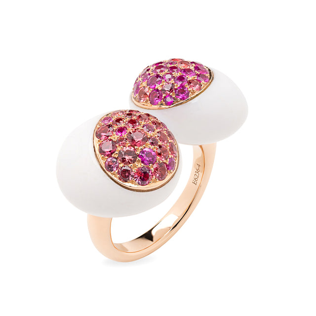 XL Galet Collection, Cacholong, Orange and Pink Sapphire Ring