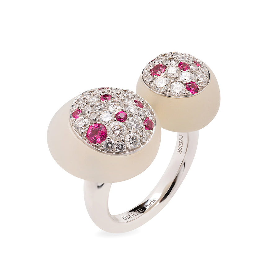 GMPM Galet Collection Agate, Diamond & Pink Spinel Ring - GERARDRIVERON