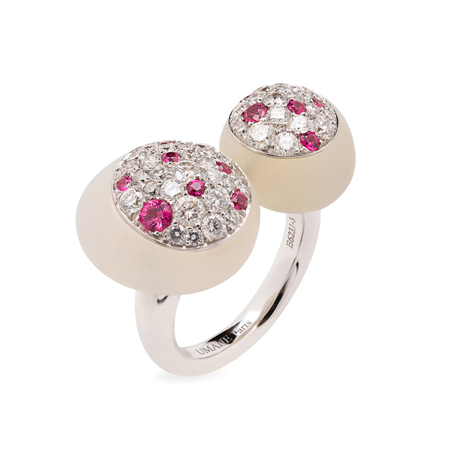 GMPM Galet Collection Natural Agate, Diamond & Pink Spinel Ring