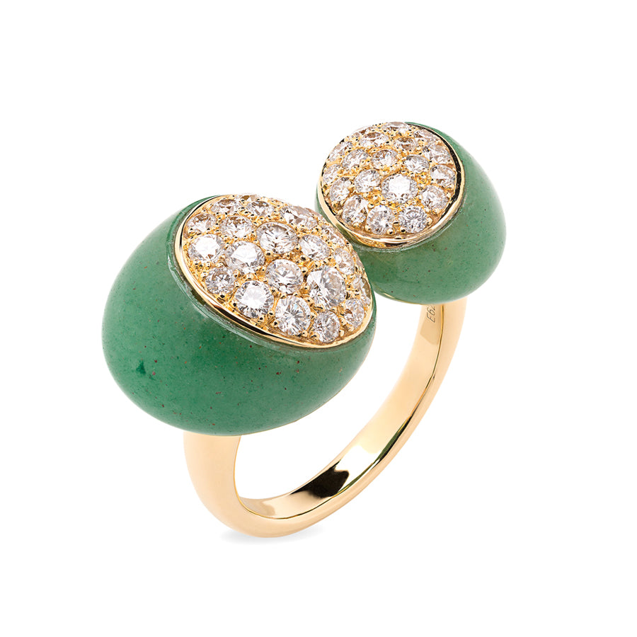 GMPM Galet Collection Green Aventurine & Diamond Ring