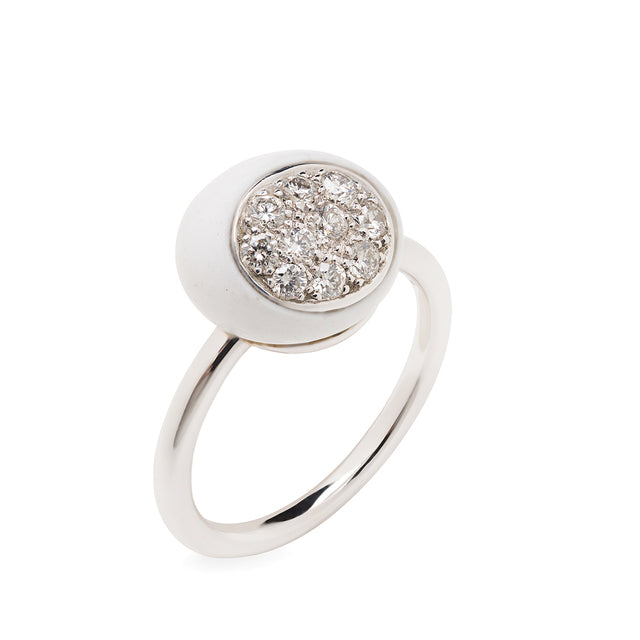 Mini Galet Cacholong & Diamond Ring - GERARDRIVERON
