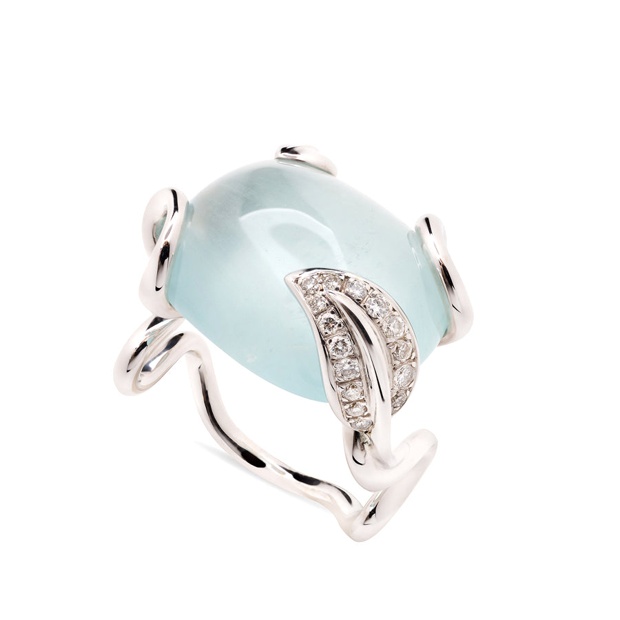 Zig Zag Collection White Gold Aquamarine and Diamonds Ring - GERARDRIVERON