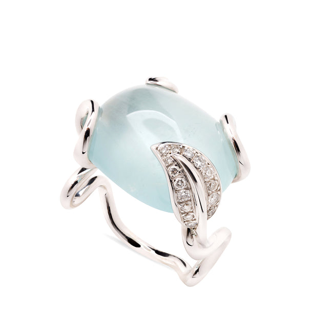 Zig Zag Collection White Gold Aquamarine and Diamonds Ring