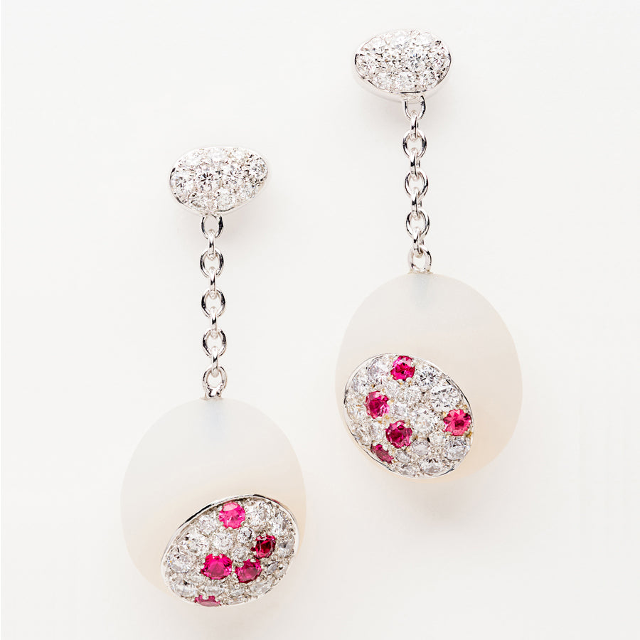 Galet Collection White Agate, Diamond & Pink Spinel Earrings