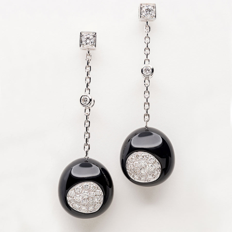 Galet Collection Onyx & Diamond Earrings